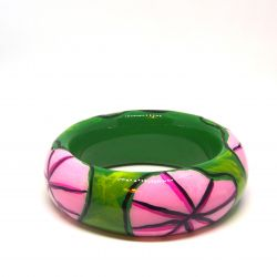 Bracelet bois et résine vert et rose