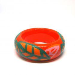 Bracelet bois et résine orange et feuilles