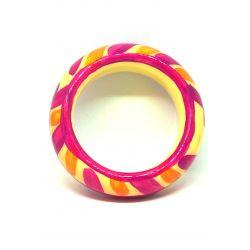 Bracelets bois et résine aux tons chauds jaune orange