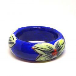 Bracelet bois et résine bleu et fleurs jaunes