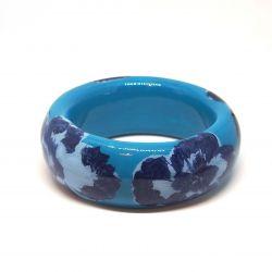 Bracelet bois et résine bleu