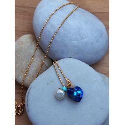 Collier plaqué or Swarovski bleu et perle chic décor pierre