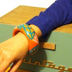 Bracelet bois et résine orange