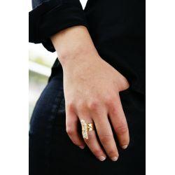 Bague réglable plaqué or Quartz - porté