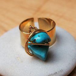 Bague réglable plaqué or Turquoise