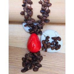 Parure Sautoir et boucles d'oreilles Ivoire végétal rouge grain de café