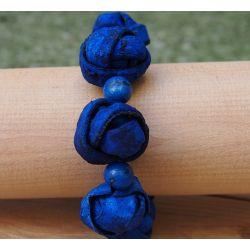 Bracelet peau d'orange bleu femme