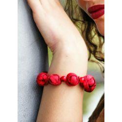 Bracelet peau d'orange rouge femme - porté