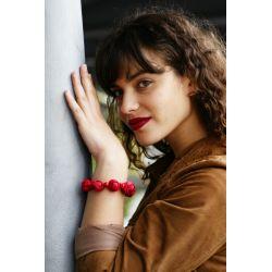 Bracelet peau d'orange rouge femme - femme