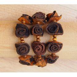 Bracelet multirangs fleurs peau d'orange femme