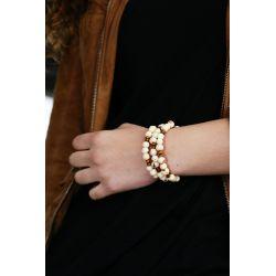 Bracelet multirang graines asahi Blanc femme - porté
