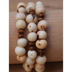 Bracelet multirang graines asahi Blanc femme