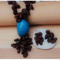 Parure Sautoir et boucles d'oreilles Ivoire végétal turquoise grains de café