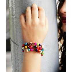 Bracelet multirang graines asahi multicolore femme - porté
