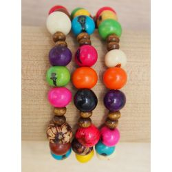 Bracelet multirang graines asahi multicolore femme