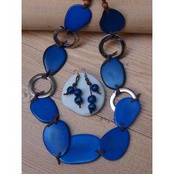 Parure Sautoir et boucles d'oreille Ivoire végétal bleu