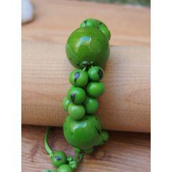 Bracelet vert graines asahi et bonbonne femme