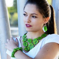 Bracelet vert graines asahi et bonbonne femme - femme