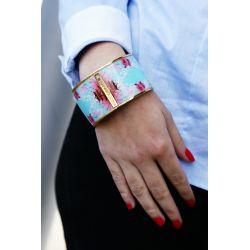 Bracelet émaillé 4 cm turquoise - porté_Flor Amazona