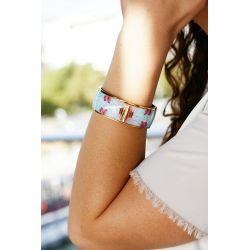 Bracelet émaillé 2,5 cm turquoise - porté_Flor Amazona