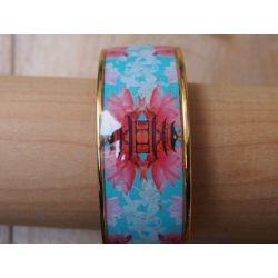 Bracelet émaillé 2,5 cm turquoise