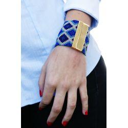 Bracelet tissé sécurisé bleu - Flor Amazona