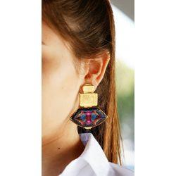 Boucles d'oreilles à clip doré bleu - porté