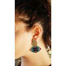 Boucles d'oreilles à clip doré turquoise - porté