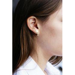Boucles d'oreilles plaqué or Palmier - porté