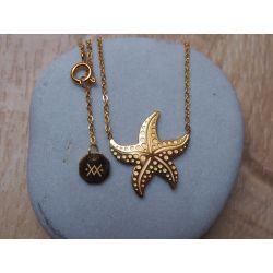 Collier court plaqué or étoile de mer