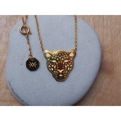 Collier ras du cou plaqué or léopard