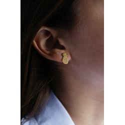 Boucles d'oreilles plaqué or Ananas - porté
