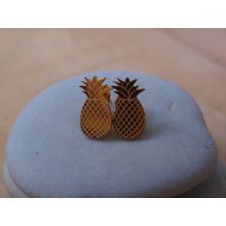 Boucles d'oreilles plaqué or Ananas