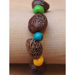 Bracelet graine asahi et Ivoire végétal multicolore femme
