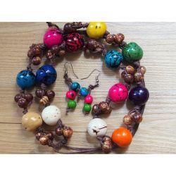 Sautoir boules d'ivoire végétal multicolore_femme