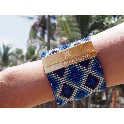 Bracelet tissé à la main bleu_femme_Flor Amazona