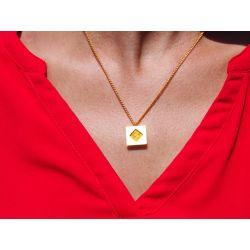 Collier ethnique plaqué or Achote avec haut rouge