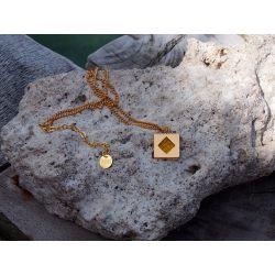 Collier ethnique plaqué or Achote avec décor pierre