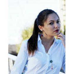 Collier sautoir plaqué or caractère chinois femme avec chemise