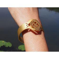Bracelet ethnique plaqué or Fleur de cocorilla