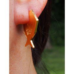 Boucles d'oreilles ethniques plaqué or Fihisca portées