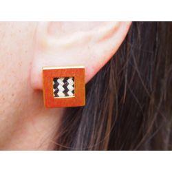 Boucles d'oreilles ethniques plaqué or Jagua portées