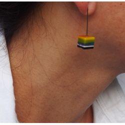 Boucles d'oreilles en résine carrées