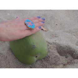 Bague réglable plaqué or émaillée à la main Cartagena tiles Flor Amazona