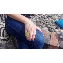 Bague ethnique réglable plaqué or Tribu Flor Amazona