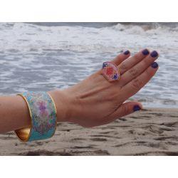 Bague réglable plaqué or émaillée à la main Neptune treasures Flor Amazona avec bracelet
