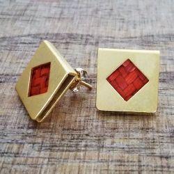 Boucles d'oreilles ethniques carrées plaqué or