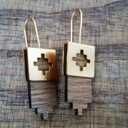 Boucles d'oreilles ethniques en bois clair Mexion chic